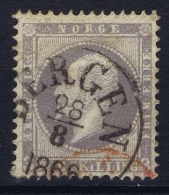 Norway: Yv Nr 3 1856 Used Extra Red Cancel