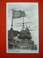 """Sw.-Propaganda Fotokarte """"Mit Wehender Flagge ! """" Von Deutsches Reich, Gelaufen - Allemagne"""