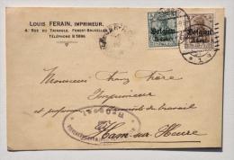 Carte Postale Année 1918 De L´imprimeur LOUIS FERAIN à FOREST Vers FRANZ FRERE, Imprimeur à HAM-SUR-HEURE - Printing & Stationeries
