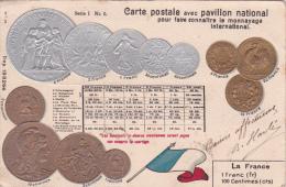 CP RELIEF avec Pavillon National pour faire connaitre le monnayage international Le Franc Semeuse