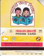 BANGLADESH(Urmet) - Children Reading A Book(reverse B, Thin Band-text On 2 Lines, Tel 22081), Used - Bangladesh
