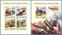 tg14610ab Togo 2014 WW1 the First World War 2 s/s