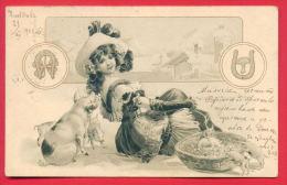 156261 / Pigs  Cochons  Schweine -  WINTER  GIRL Horseshoes, Four-leaf Clover Mushroom 19- 1920 PLOVDIV KARLOVO BULGARIA - Varkens