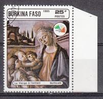 Burkina Faso, 1985 - 25fr Virgin And Child - Nr. 749A Usato° - Burkina Faso (1984-...)