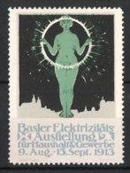 Reklamemarke Basel, Elektrizitäts-Ausstellung Für Haushalt Und Gewerbe 1913, Nackte Dame Mit Ring - Erinnophilie
