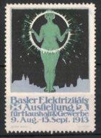 Vignette Publicitaire Basel, Elektrizitäts-exposition Für Haushalt Et Gewerbe 1913, Dame In Akt Avec Ring - Erinnophilie