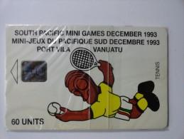 RARE : TENNIS  SOUTH PACIFIC MINI GAMES DECEMBER 1993 (MINT CARD WITH BLISTER) - Vanuatu