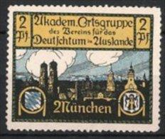 Vignette Publicitaire Akademische Ortsgruppe Des Vereins Für Das Deutschtum Im Ausland, Vue De München, Armoiries - Vignetten (Erinnophilie)
