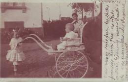 67 Haguenau? - Carte Photo De 3 Enfants Dont L'un En Poussette D'époque - Dos Non Divisé - Posté De Haguenau - Haguenau