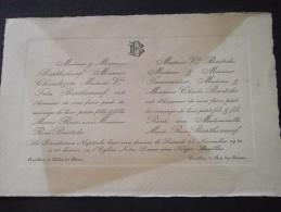 15 AURILLAC - Faire-Part De Mariage Entre René BASTIDE Et Marie-Rose BARTHOMEUF - 15 Avril 1930 - Mariage