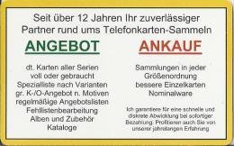 Telefoonkaart.- Duitsland. Telefonkarte 5 €. Angebot.  Ankauf. Jochen Goedert. Zukunftstr. 54. Mainz. - Duitsland