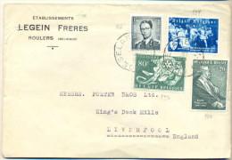 _4Za888: N° 924 + N° 953: Rotary + N° 966: K.Karel V +  N°  967 : E. Verhaeren > Liverpoom 1955 - Unclassified