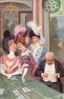 Casino - Table De Jeu De Hasard - Roulette - Illustrateur Alonzo Perez - Beaux Chapeaux - Lot De 2 Cartes - Postcards