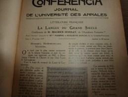 1921 CONFERENCIA :La LANGUE Du GRAND SIECLE; Sous La REGENCE; Autour De CHOPIN...etc - Libros, Revistas, Cómics