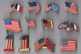 LOT DE 12 PIN´S DRAPEAU AMERICAIN - Badges