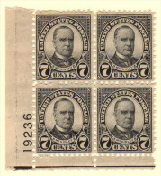 USA SC #639 MNH PB4  1927 7c McKinley  W/perf Flts @ TL  #19236, CV $22.50 - Plate Blocks & Sheetlets