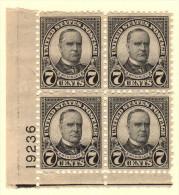 USA SC #639 MNH PB4  1927 7c McKinley  W/perf Flts @ TL  #19236, CV $20.00 - Plate Blocks & Sheetlets