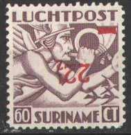 Suriname Luchtpost 24fa Ongebruikt/MLH Kopstaande Opdruk ZEER ZELDZAAM! - Suriname ... - 1975