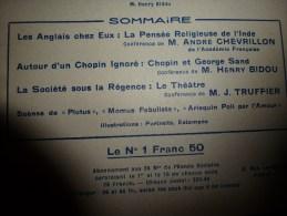 1926 CONFERENCIA :Chopin Et Sand ; INDE; Ceylan Et L'arbre Du BOUDDHA; Benarès ;...etc - Libros, Revistas, Cómics