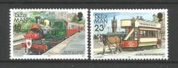 Isle Of Man 1992   Trains & Tramways   524+ 525a Fluo *** - Man (Ile De)