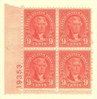 USA SC #641 MNH PB4  1927 9c Jefferson #19353 W/pencil Mrkg In L Selv., CV $22.50 - Plate Blocks & Sheetlets