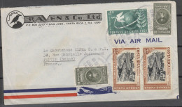 O) 1950 COSTA RICA, UPU-1874, JUAN MORA FERNANDEZ-PRESIDENT OF COSTA RICA, COVER TO FRANCE, XF - Costa Rica