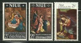"Niu        ""Christmas 1967, 1969, 1970""    3  Sets    SC# 120, 121, 135 Mint - Niue"
