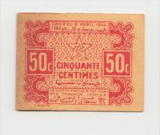 MOROCCO 50 CENTIMES 1944 XF+ (tape) P 41 - Marokko