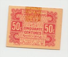 MOROCCO 50 CENTIMES 1944 AUNC (tape) P 41 - Marocco