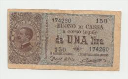 Italy 1 Lira 1914 VF Banknote Pick 36a  36 A - [ 1] …-1946 : Koninkrijk