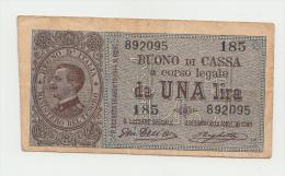 Italy 1 Lira 1914 AVF+ Banknote Pick 36b  36 B - [ 1] …-1946 : Koninkrijk