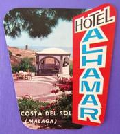 HOTEL PENSION RESIDENCIA HOSTAL ALHAMBRA MALAGA COSTA SOL SPAIN LUGGAGE LABEL ETIQUETTE AUFKLEBER DECAL STICKER Madrid - Hotel Labels