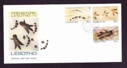 Lesotho - 1984 - Prehistoric Footprints - Complete Set On FDC - Lesotho (1966-...)
