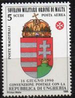 PIA - SMOM - 1990 : Convenzione Postale Con La Repubblica Dell´ Ungheria - (UN  P.A.  A43) - Sovrano Militare Ordine Di Malta