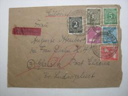 1947,  Schwerin , Eilbrief in den Landpostzustellbezirk , dort mit Nachporto belegt