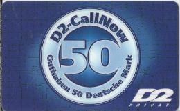 Telefonkarte.- Duitsland. D2-CallNow - 50 DM. - D2 Privat  2 Scans - GSM, Voorafbetaald & Herlaadbare Kaarten