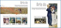 m14309ab Mozambique 2014 Painting Impressionism art 2 s/s
