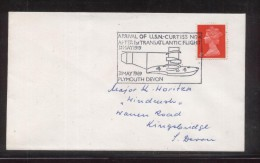 GB 1969 ARRIVAL US NAVY CURTISS TRANSATLANTIC FLIGHT COMM CACHET ON COVER AIRCRAFT AIRPLANE PLANE FLYING BOAT - Flugzeuge