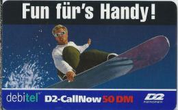 Telefonkarte.- Duitsland. D2-CallNow - 50 DM. - D2 Mannesmann. Debitel. Fun Für´s Handy ! Skiër. 2 Scans - GSM, Voorafbetaald & Herlaadbare Kaarten