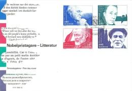 Suéde - **  Lettre Commémorative - Bloc De 4 - Oblitéré- Ecrivains - Prix Nobel - 1990 ** - Parfait état - Voir 2 Scans. - Schweden