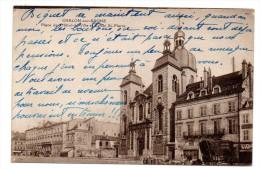 CP, 71, CHALONS-sur-SAONE, Place De L'Hôtel De Ville Et L'Eglise St-Pierre, Ecrite - Chalon Sur Saone