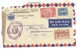 CARTA CANADA ESPAÑA MATº CENSURA - 1937-1952 Reinado De George VI