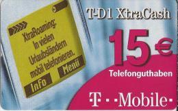 Telefonkarte.- Duitsland.  T-D1 XtraCash. 15 €.  Telefonguthaben. T...Mobile.  2 Scans - Duitsland
