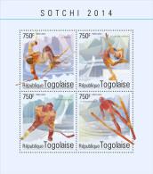 tg14609a Togo 2014 Winter Olympic Sochi s/s Biathlon Hockey Skiing
