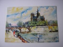 75 - PARIS  * NOTRE-DAME ET LES QUAIS ANIMES  PECHEUR A LA LIGNE * AQUARELLE  DESSIN  ILLUSTRATION PAR  DELARUE - Notre Dame Von Paris