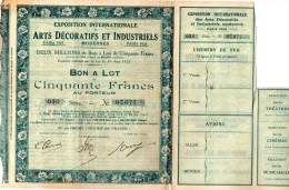 Arts Décoratifs Et Industriels 1925, Bon à Lot De Cinquante Francs Au Porteur. - Actions & Titres