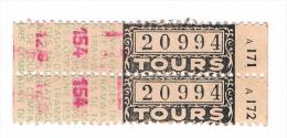 Tickets De Tramway Anciens, Compagnie Des Tramways De Tours - Tramways