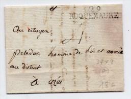 1793 - LETTRE De ROQUEMAURE (GARD) Avec MARQUE 37x8 Mm - 1701-1800: Precursors XVIII