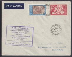 SOUDAN -  VOYAGE D'ESSAI DU 22 NOVEMBRE 1937 -  LETTRE DE BAMAKO POUR DAKAR PAR AIR FRANCE - - Soudan (1894-1902)