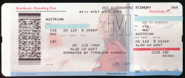 Titre De Transports, Boarding Pass : VIENNE-MUNICH, Austrian Airlines, Opérated By Tyrolean Airways, Classe Economy - Europe